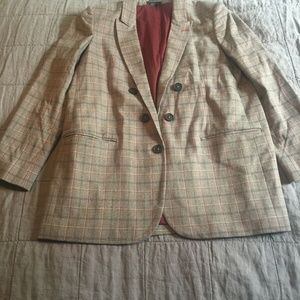 New Express Brown Plaid Double Breasted Blazer L